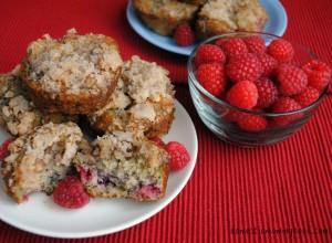 Raspberry Banana Crumb Muffins