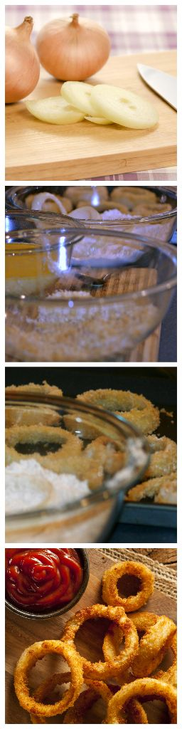 baked onion rings collage
