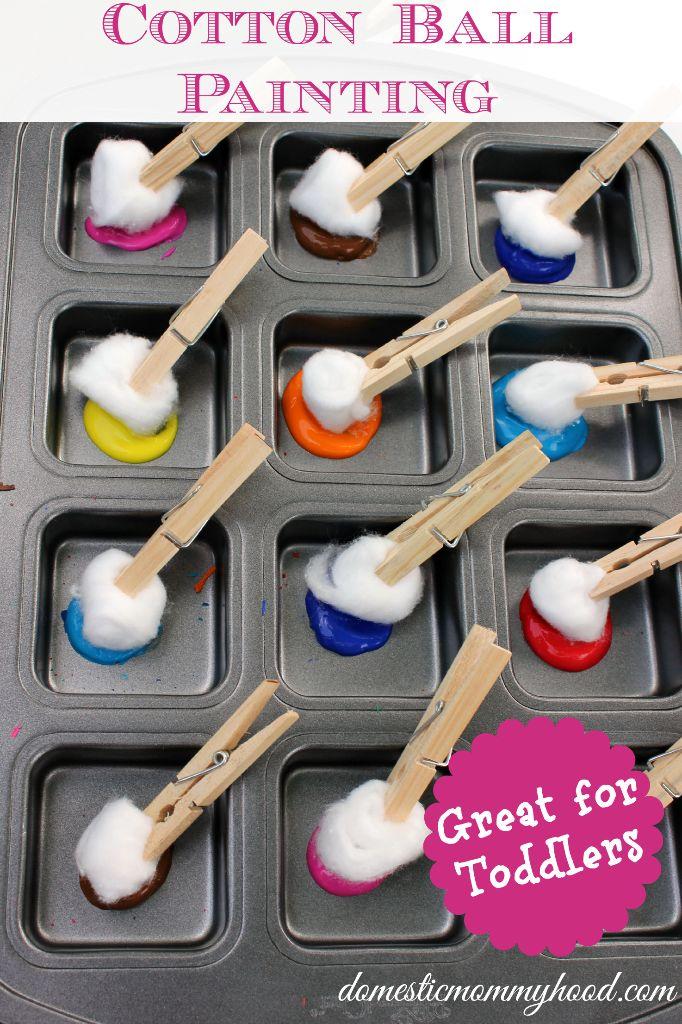 cotton ball painting kids activity