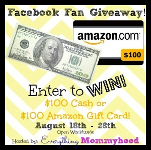 Facebook Fan Giveaway!! Enter to Win $100 Cash or $100 Amazon Gift Card (ends 8-28-14)