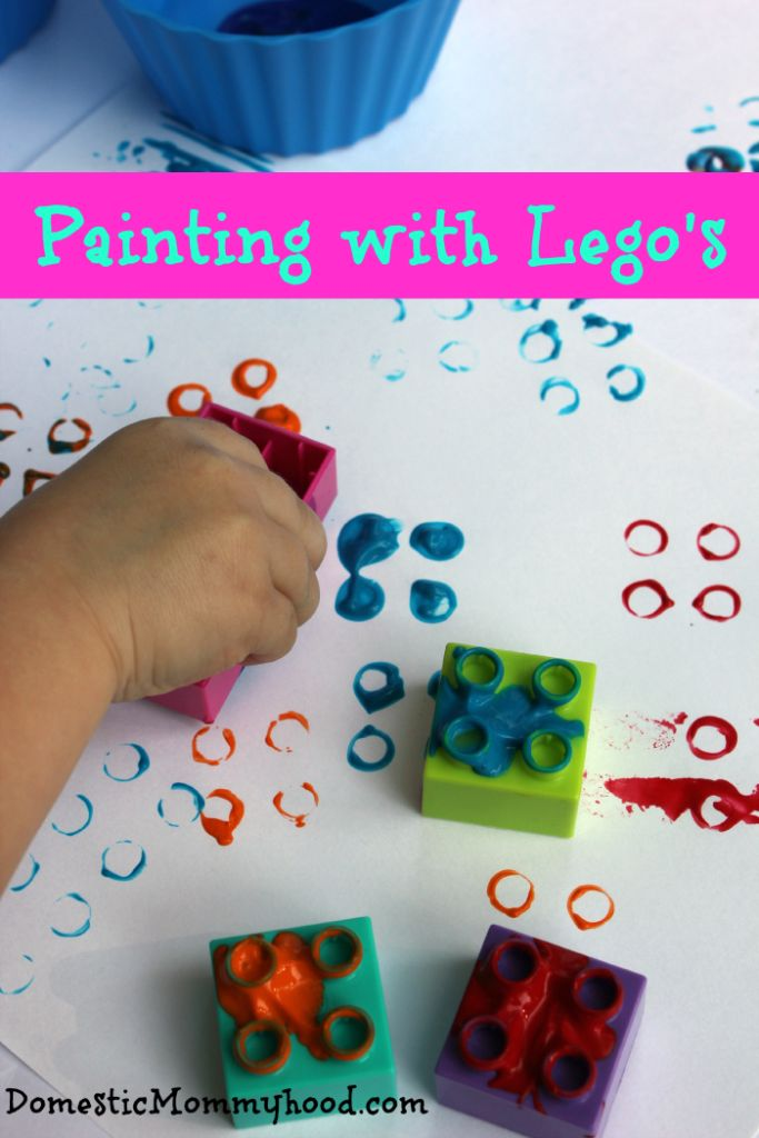 kids activity painting with lego's