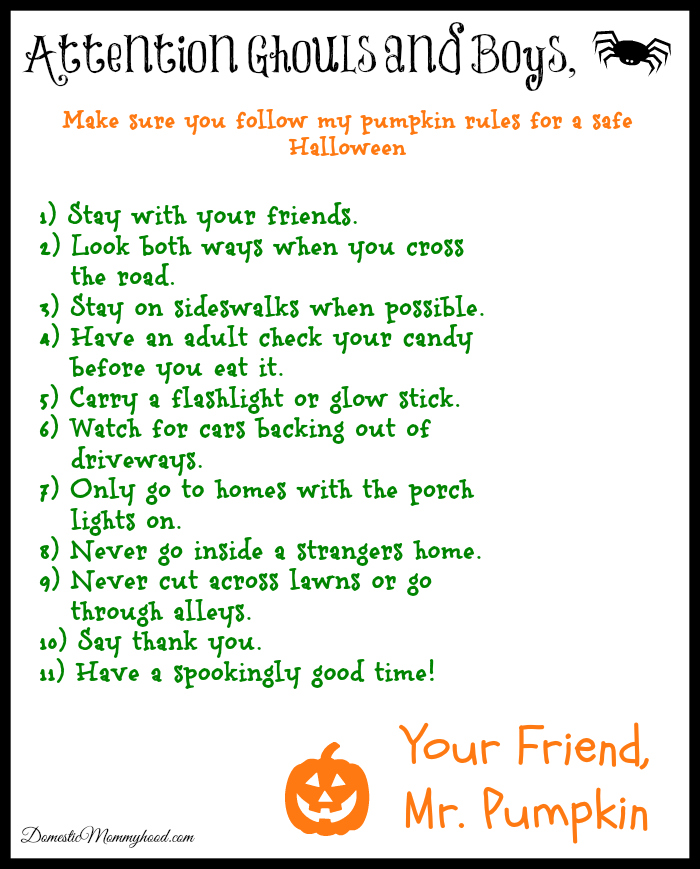 halloween safety checklist - Halloween Safety Printables