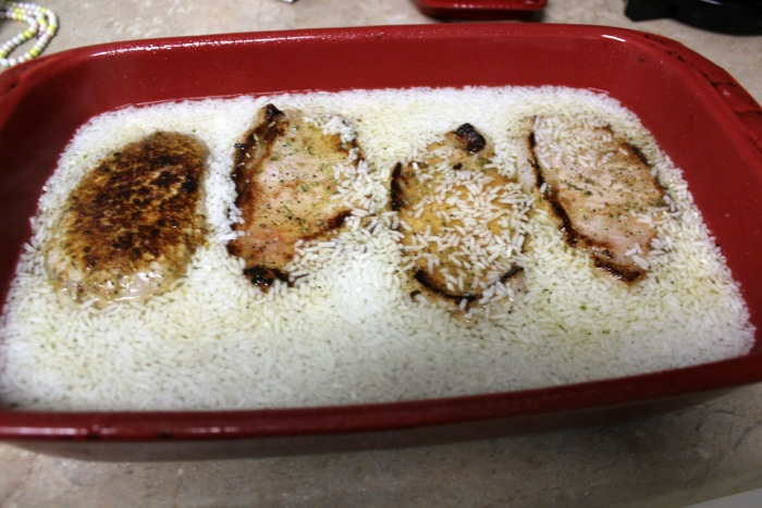 pork chop and rice bake before soup