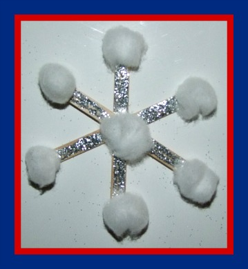 Easy Popsicle Stick Snowflake Craft By Kiboomu Would Make A Perfect Little With Frozen Theme Painting The Sticks Glue And Sprinkling On