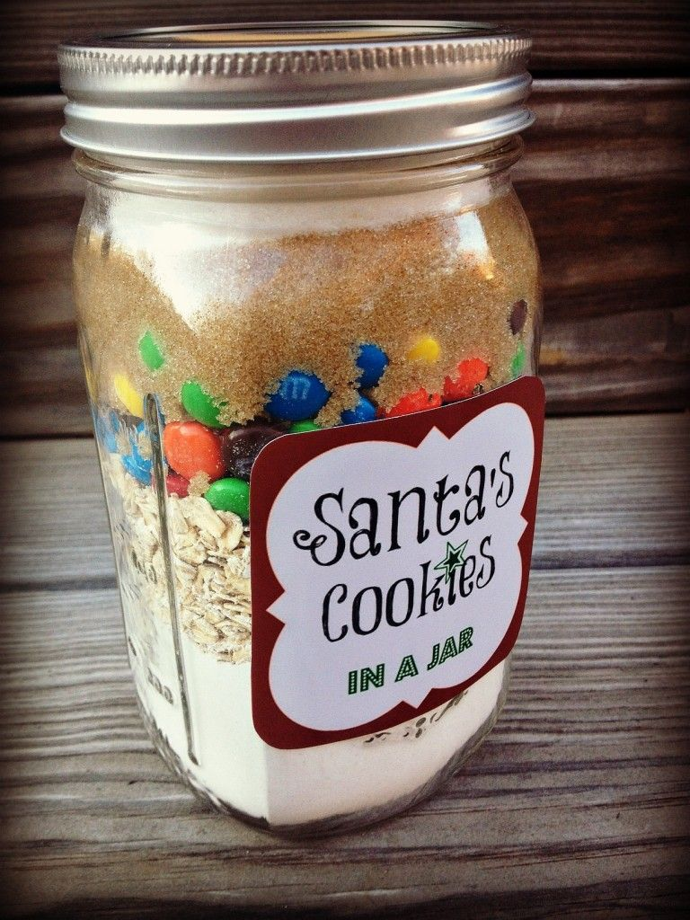 gifts in a jar santas cookies
