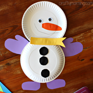 paper plate snowman craft preschool winter crafts