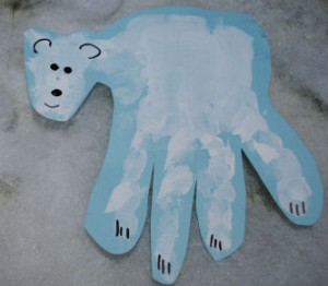 polar bear hand print craft