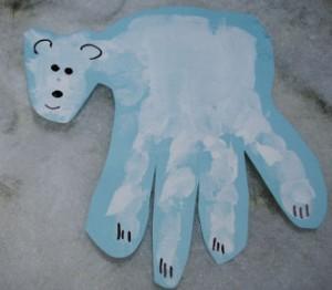 polar bear hand print craft