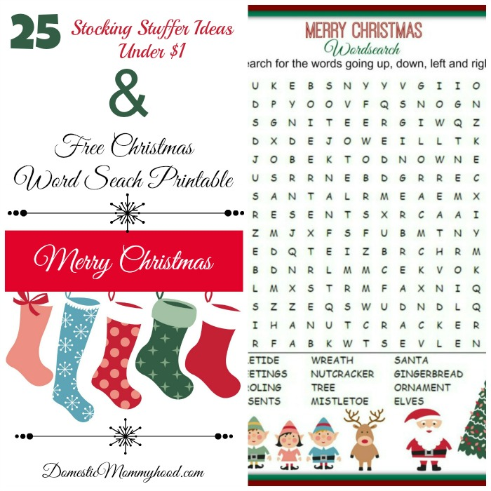 stocking stuffer ideas + free christmas word seach printable