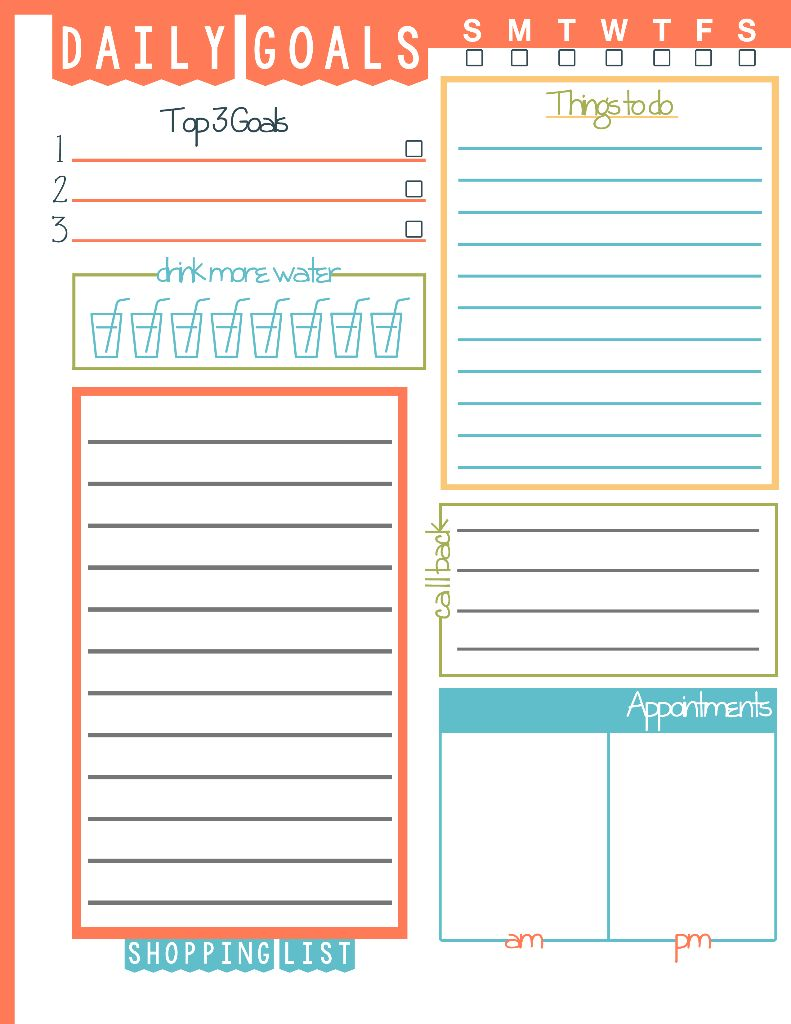 Daily Goals To Do List Printable