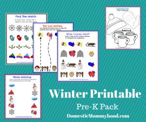 winter printable pre-k pack