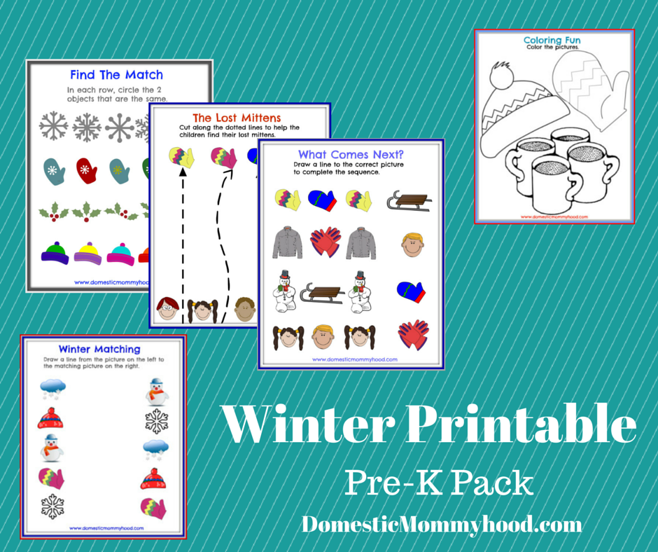 winter printable pre-k pack