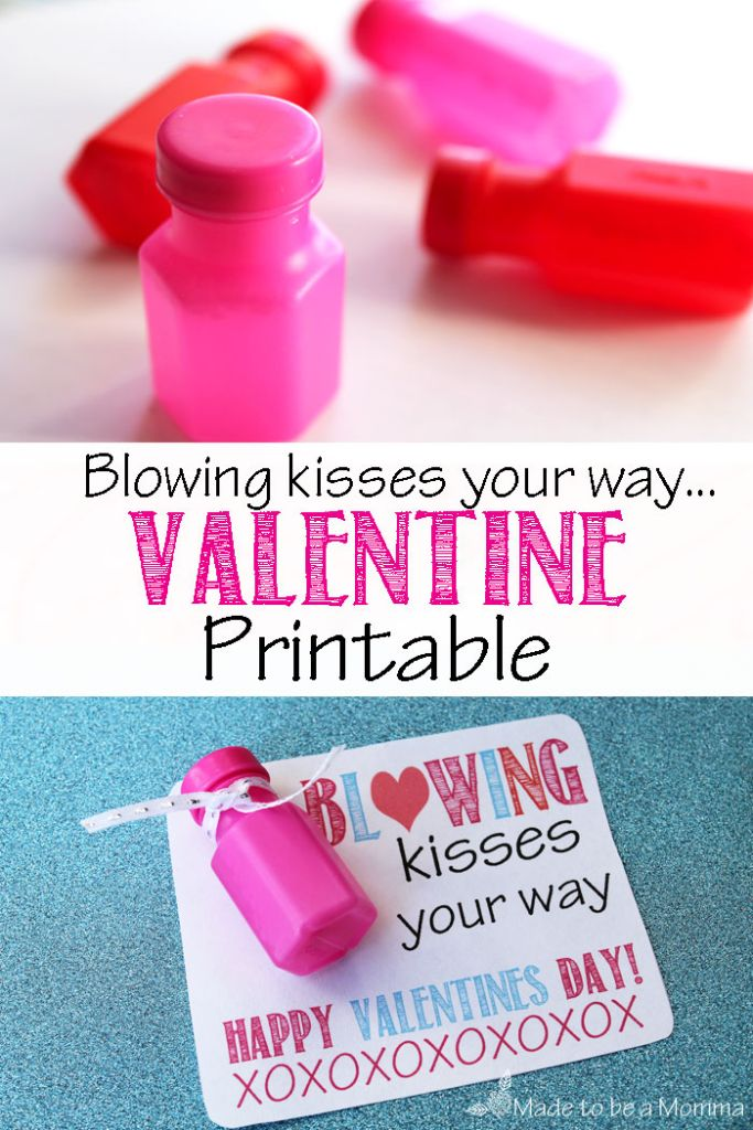 Blowing Kisses Your Way Valentine By Made To Be A Momma Are An Adorable Non   Candy Valentines Treat To Share With Your Childu0027s Class!