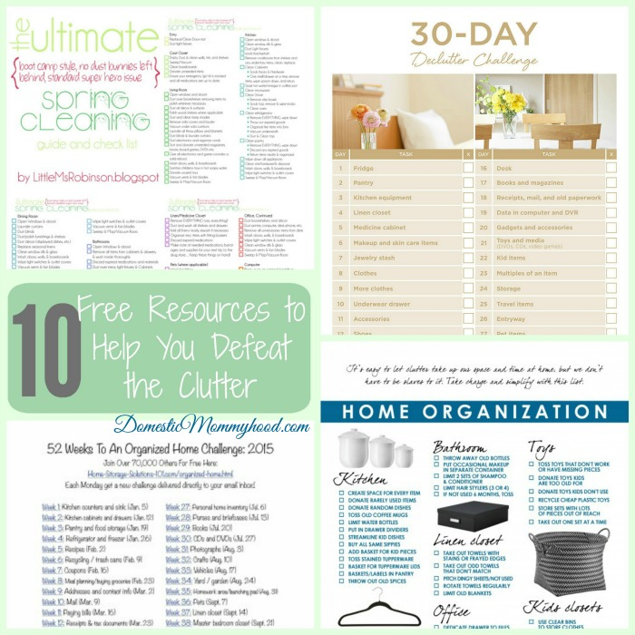 10 FREE Resources to Help you Clear The Clutter to a More Organized Home