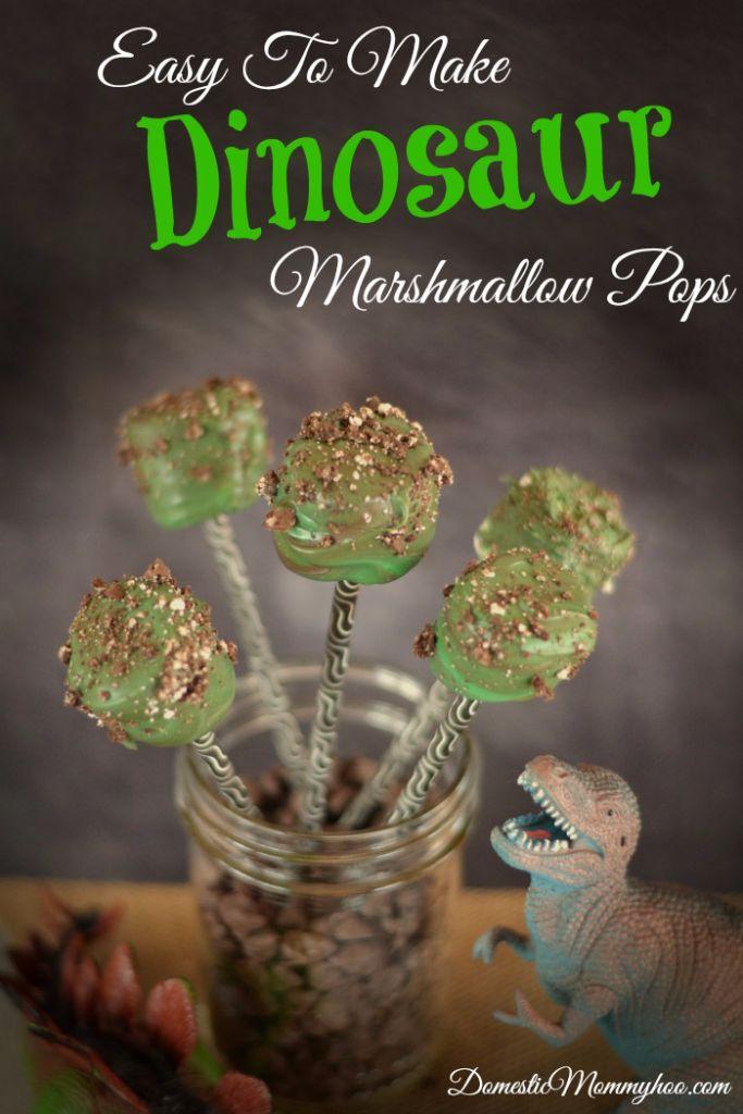 Easy to Make Dinosaur Marshmallow Pops