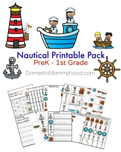 Nautical Printable Pack PreK – 1st Grade