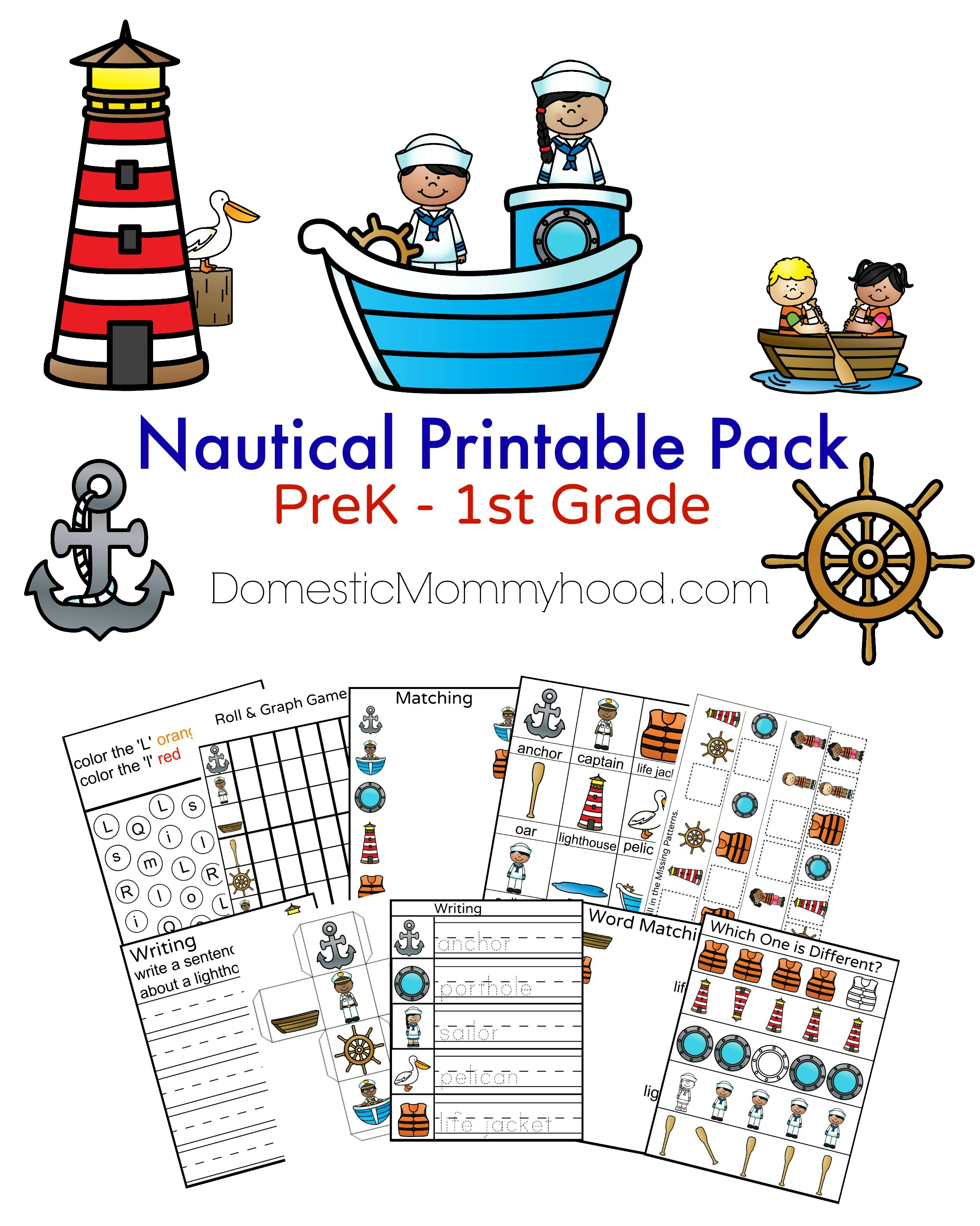 Nautical Printable Pack Cover DomesticMommyhood.com