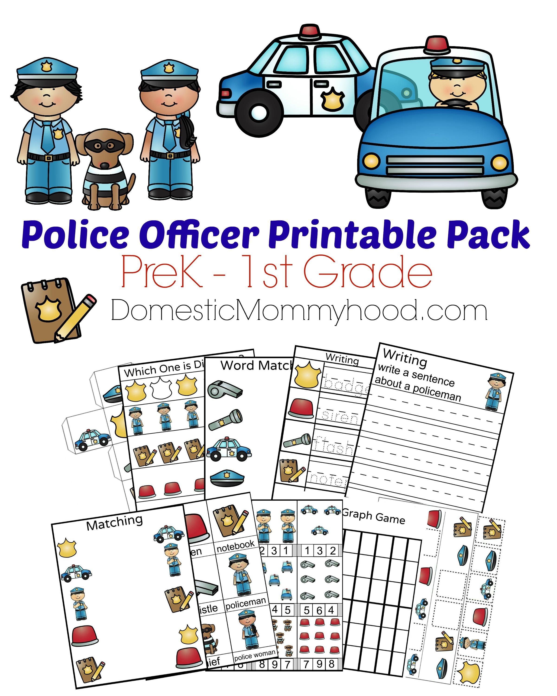 community helpers week theme pre k printable police officer
