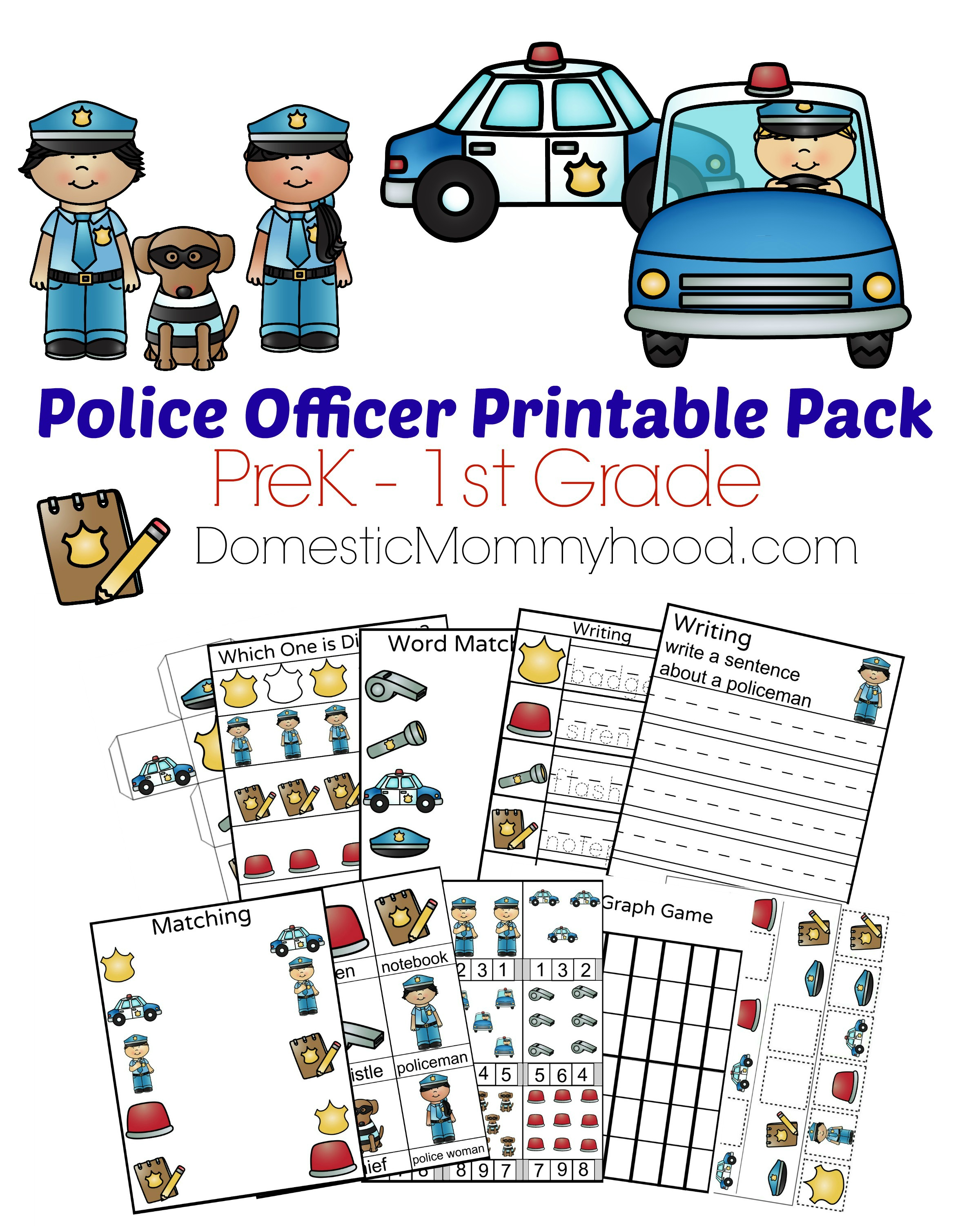 Police Officer Printable Cover DomesticMommyhood.com
