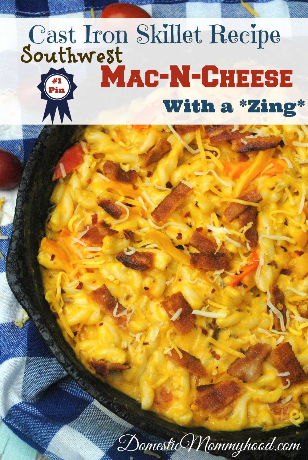 Around our house we just love coming up with fun and easy cast iron skillet recipes. This week we are featuring one of my favorite comfort food of all time. It's easy, cheesy, and oh so good! We love making skillet recipes, just like my grandma used to. She always said it's the pan with the flavors built right in. This great recipe is the ultimate in comfort food and wonderfully spicy! I hope you enjoy it just as much as we do. :) Cast Iron Skillet Recipe: Mac N Cheese with a Zing! Shopping List: 1 ½ Cups milk (whole works best) 4 tsp. flour ¼ Cups unsalted butter 1 Cup goat`milk cheese 1 Cup gruyere cheese ½ to 1 whole medium red bell pepper, chopped ½ to 1 whole medium orange bell pepper, chopped ½ to 1 whole medium yellow bell pepper, chopped 8 slices bacon, crisp cooked and crumbled (grandma says 4 but I like a lot of bacon) 8 oz elbow macaroni, cooked and drained 1 TBSP Southwest seasoning Directions: Preheat your oven to 350° Cook bacon as you usually would. Chop peppers and set aside. Cook elbow macaroni and set aside. I always run cool water over mine to stop the cooking process. Others swear this is a bad idea but it works well for me. I hate soggy noodles. In a medium size pot combine milk, butter, seasoning and flour. Cook and medium heat until mixture thickens. Make sure you stir frequently to avoid scorching. Add in the cheese and stir until melted and blended well. Crumble bacon and mix into the cheese mixture, along with the peppers. Spray your cast iron skillet with cooking spray and pour in your macaroni and cheese mixture.