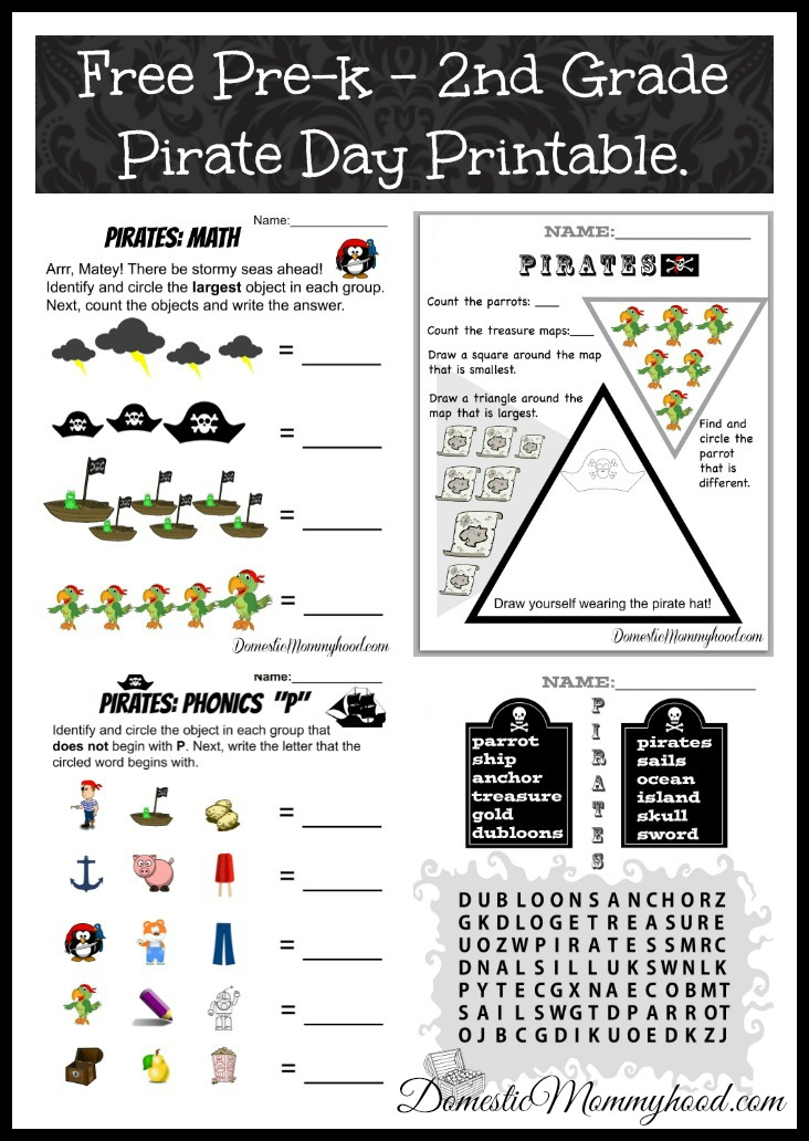 Free Pre-K to 2nd grade Talk like Pirate Day Printable