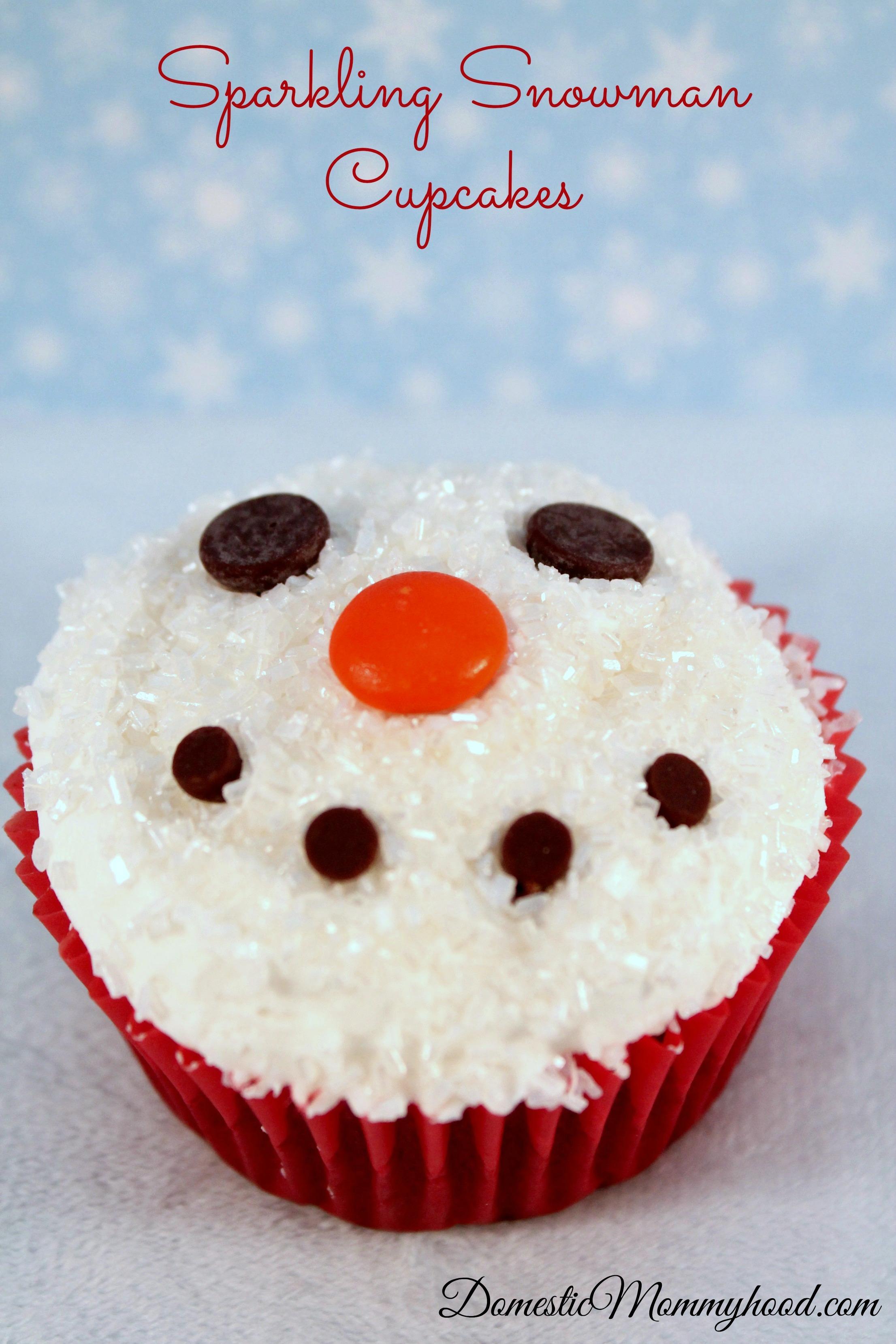 sparkling snowman cupcakes