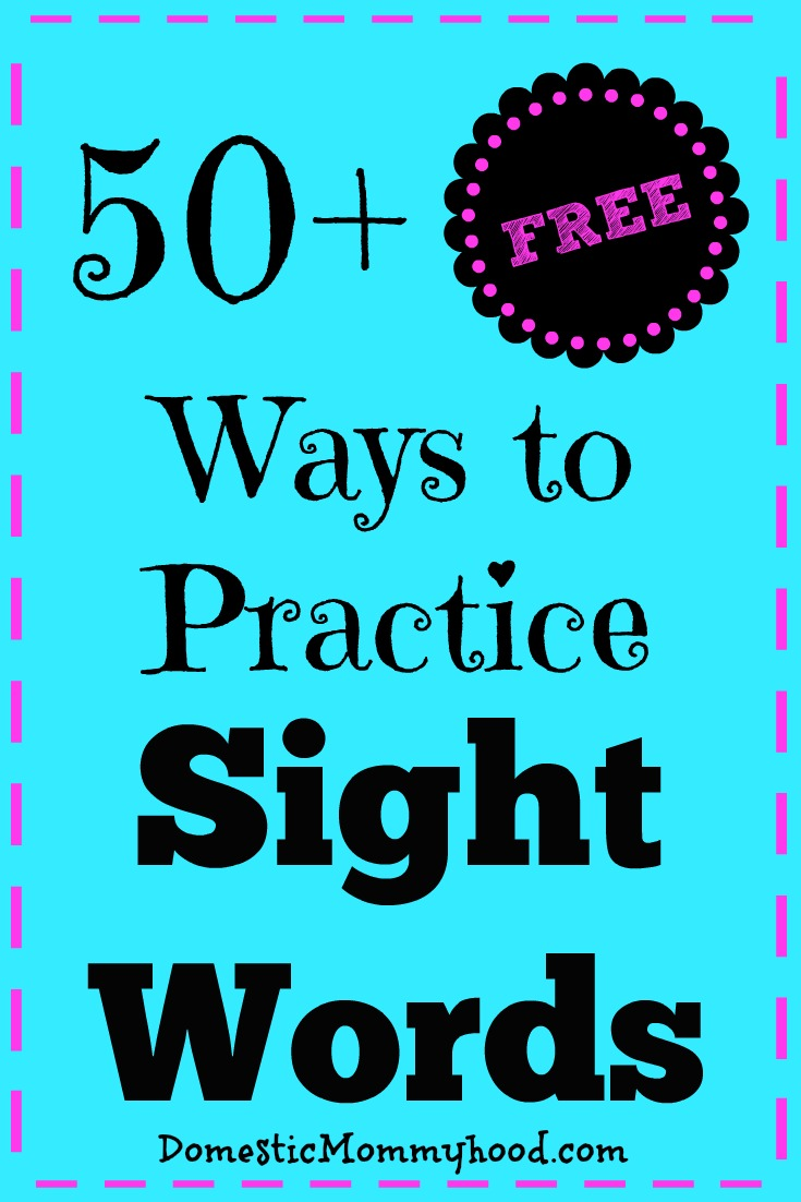 50 free ways to practice sight words