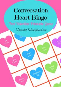 Conversation Heart Bingo Free Printable Valentines Game Printable
