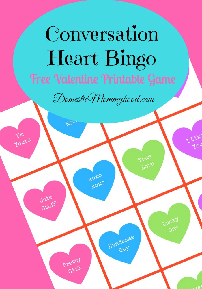 Conversation Heart Bingo Free Printable valentines Game