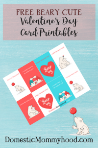"""Beary Cute"" Free Valentine's Day Printable Cards"
