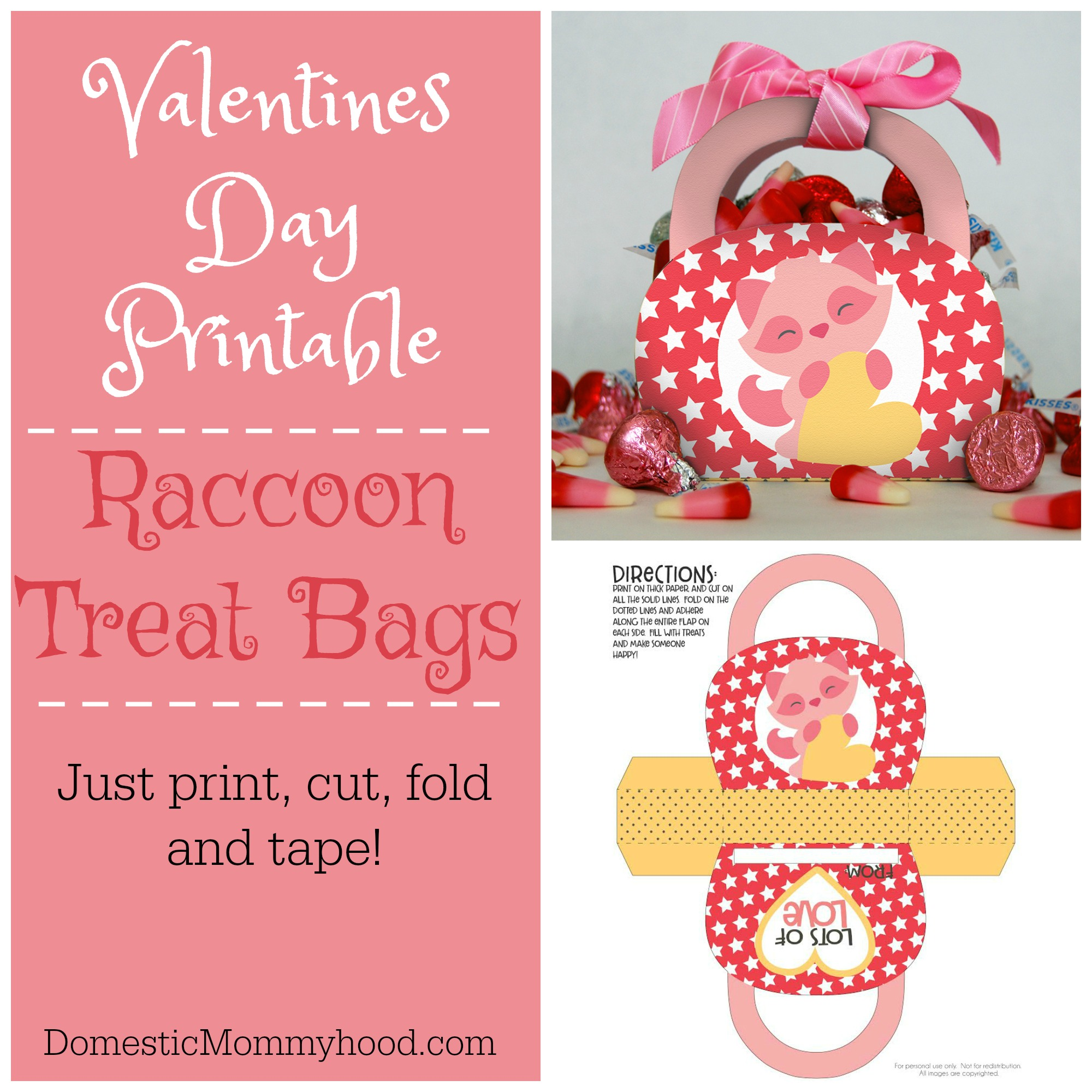 Valentines Day Printables Raccoon Purse Treat Bag