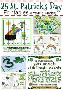 Free Preschool/Kindergarten St Patrick's Day Printables