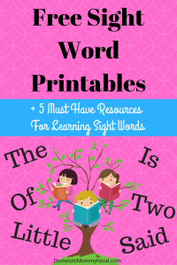 Sight Word Printables To Help Your Child NOW