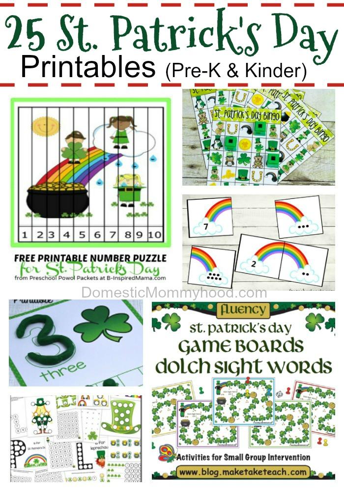 Free PreschoolKindergarten St Patrick's Day Printables