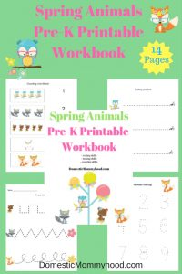 Free Spring Animals Pre-K Printable Workbook